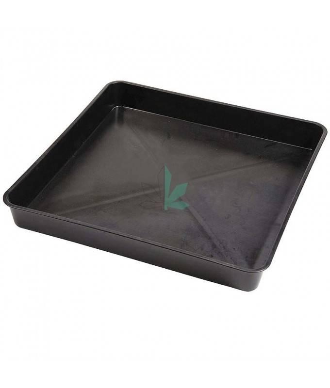 Imagen principal del producto Bandejas negras y cuadradas de plástico resistente